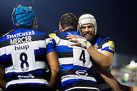 Dave Attwood of Bath Rugby celebrates a try with team-mates. Aviva Premiership match, between Bath Rugby and Sale Sharks on October 7, 2016 at the Recreation Ground in Bath, England. Photo by: Patrick Khachfe / Onside Images