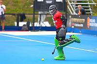 Pakistan goalkeeper Amjad Ali kicks the ball away in frustration at conceding a goal from an Argentine penalty shot during the Hockey World League Quarter-Final match between Argentina and Pakistan at the Olympic Park, London, England on 22 June 2017. Photo by Steve McCarthy.