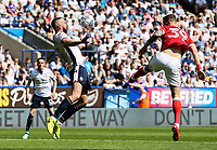 Bolton Wanderers' Aaron Wilbraham controls the ball under pressutre from Nottingham Forest's Apostolos Vellios<br /> <br /> Photographer Andrew Kearns/CameraSport<br /> <br /> The EFL Sky Bet Championship - Bolton Wanderers v Nottingham Forest - Sunday 6th May 2018 - Macron Stadium - Bolton<br /> <br /> World Copyright &copy; 2018 CameraSport. All rights reserved. 43 Linden Ave. Countesthorpe. Leicester. England. LE8 5PG - Tel: +44 (0) 116 277 4147 - admin@camerasport.com - www.camerasport.com