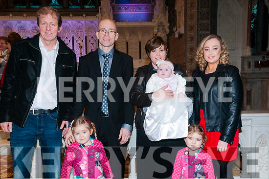 baby Chloe Keane with her parents Johnnie & Leanne Keane, Listowel and her godparents Bertie Keane & Laney Clancy and sisters Nicole & Leah who was christened at St. Mary's Church, Listowel by Canon Declan O'Connor and afterwards at the Listowel Arms Hotel.