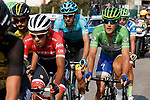 Part of the breakaway Jarlinson Pantano (COL) Trek-Segafredo, Laurens De Vreese (BEL) Astana and Green Jersey Metteo Trentin (ITA) Quick-Step Floors during Stage 19 of the 2017 La Vuelta, running 149.7km from Caso. Parque Natural de Redes to Gij&oacute;n, Spain. 8th September 2017.<br /> Picture: Unipublic/&copy;photogomezsport | Cyclefile<br /> <br /> <br /> All photos usage must carry mandatory copyright credit (&copy; Cyclefile | Unipublic/&copy;photogomezsport)