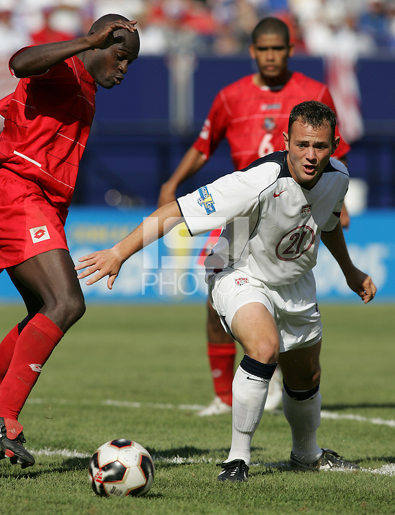 July 24, 2005: East Rutherford, NJ, USA: USMNT forward Brad Davis (21) tries to control the ball in the box during the CONCACAF Gold Cup Finals at Giants Stadium.  The USMNT won 3-1 on penalty kicks.