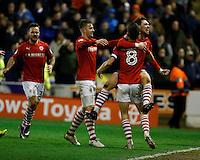 Barnsley v Leeds..EFL Championship 21.1.17 .... barnsleys tom bradshaw heads equaliser and celebrates