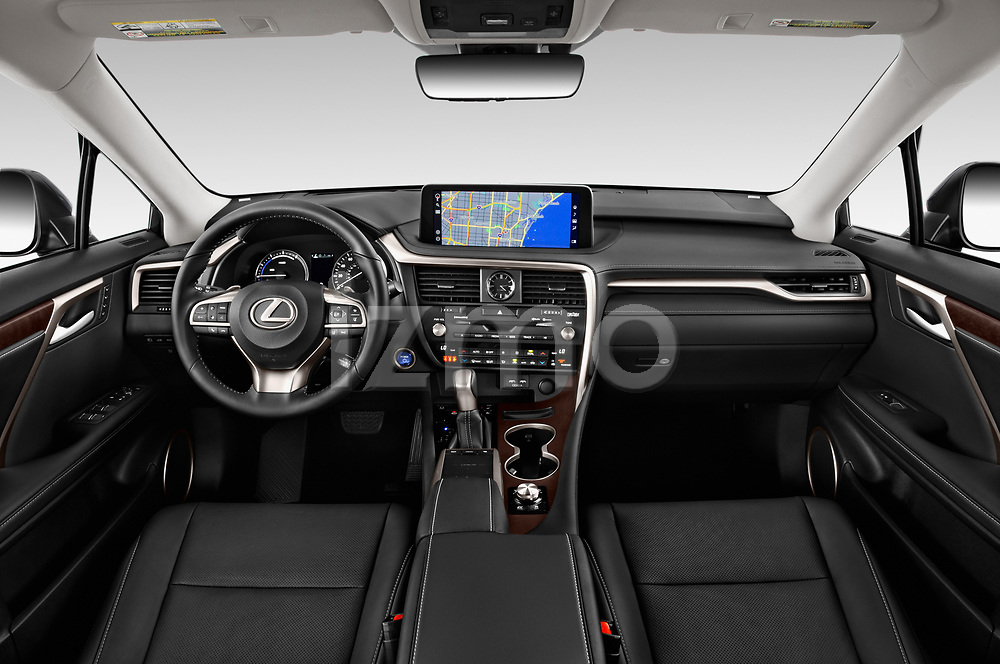 Stock photo of straight dashboard view of a 2020 Lexus RX Hybrid 450h 5 Door SUV