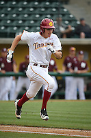 C.J. Stubbs (3) of the Southern California Trojans runs to first base during a game against the Mississippi State Bulldogs at Dedeaux Field on March 5, 2016 in Los Angeles, California. Mississippi State defeated Southern California , 8-7. (Larry Goren/Four Seam Images)