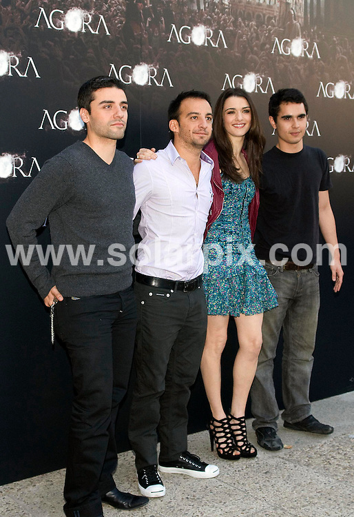 """**ALL-ROUND PICTURES FROM SOLARPIX.COM**.**WORLD SYNDICATION RIGHTS EXCEPT BELGIUM, GERMANY, HOLLAND, SCANDINAVIA, SOUTH AMERICA, SPAIN, & USA**.Photocall for the film """"Agora"""", with actors and the director, Madrid, Spain. 6 October 2009..This pic: Rachel Weisz, Max Minghella, Oscar Isaac and Alejandro Amenabar..JOB REF: 10071 SKX      DATE: 06_10_2009.**MUST CREDIT SOLARPIX.COM OR DOUBLE FEE WILL BE CHARGED**.**MUST NOTIFY SOLARPIX OF ONLINE USAGE**.**CALL US ON: +34 952 811 768 or LOW RATE FROM UK 0844 617 7637**"""