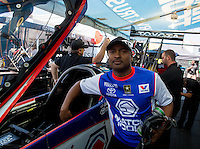 May 16, 2014; Commerce, GA, USA; NHRA top fuel driver Antron Brown in the pits during qualifying for the Southern Nationals at Atlanta Dragway. Mandatory Credit: Mark J. Rebilas-USA TODAY Sports