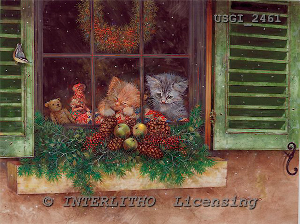 GIORDANO, CHRISTMAS ANIMALS, WEIHNACHTEN TIERE, NAVIDAD ANIMALES, paintings+++++,USGI2461,#XA#