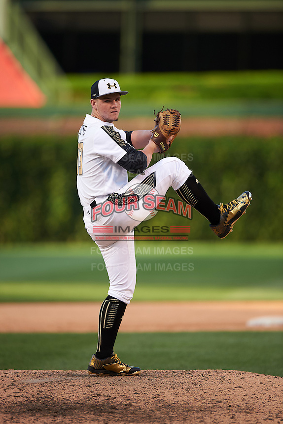 Jonathan Gettys (33) of Gainesville High School in Gainesville, Georgia during the Under Armour All-American Game on August 15, 2015 at Wrigley Field in Chicago, Illinois. (Mike Janes/Four Seam Images)