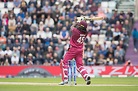 Chris Gayle (West Indies) picked up Jofra Archer (England) over cover during England vs West Indies, ICC World Cup Cricket at the Hampshire Bowl on 14th June 2019