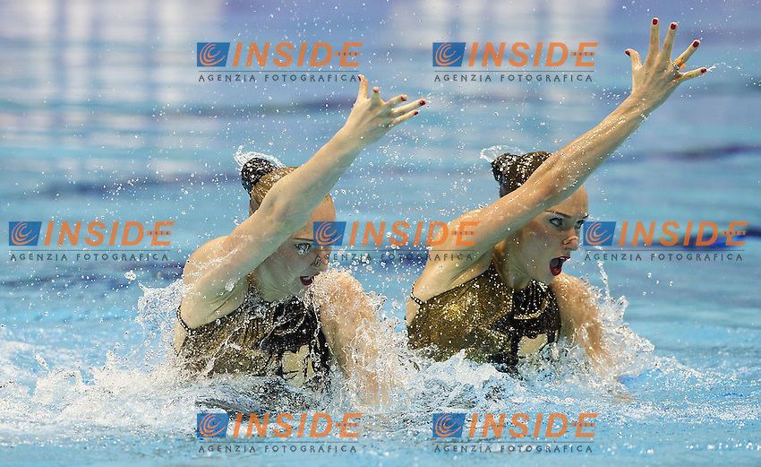RUSSIA RUS.ISCHENKO Natalia.ROMASHINA Svetalana.London 2012 Olympic Synchronised Swimming Qualification Tournament.Day01 - Duet Technical.Photo Insidefoto / Giorgio Scala.