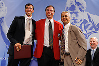 Kenny Arena, Hall of Fame inductee Bruce Arena, and US Soccer President Sunil Gulati pose for a photo during the induction ceremony for the National Soccer Hall of Fame at the New Meadowlands Stadium in East Rutherford, NJ, on August 10, 2010.