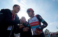 111th Paris-Roubaix 2013..Fabian Cancellara (CHE) exhausted after winning his 3rd Paris-Roubaix.