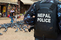 Nepal Police at Boudhanath Kathmandu also known as little Tibet, Nepal