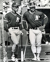Oakland Athletics Rickey Henderson and slugger Reggie Jackson. (photo by Ron Riesterer 1991)