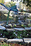 A waterfall and garden at the Chalet on the Lake hotel located on Table Rock Lake behind the dam in Branson, Missouri