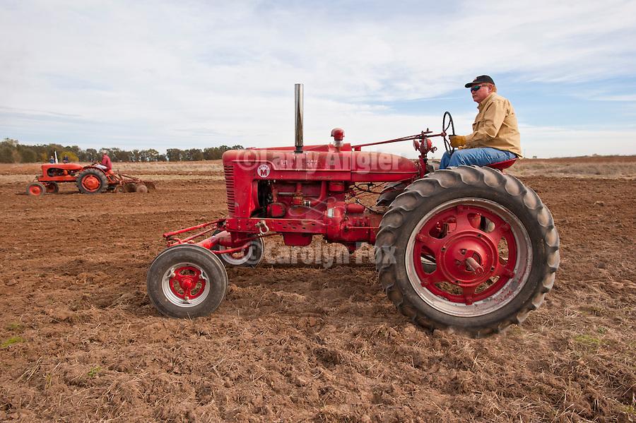 Antique tractors plowing a field in fall during the Branch 158 EDGE & TA Fall Plow Day and Plowing Seminar near Pleasant Grove, Calif...Silmer Scheidel Farm..1954 Farmall Super M (near), c. 1949 Allis-Chalmers WD (far)