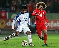 Luis Ovalle of Panama challenged by Ethan Ampadu of Wales during the international friendly soccer match between Wales and Panama at Cardiff City Stadium, Cardiff, Wales, UK. Tuesday 14 November 2017.