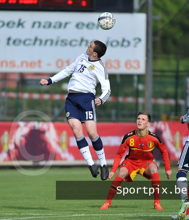 Scotland U19 - Belgium U19 : John Mcginn jumps in front of Birger Verstraete (8).foto DAVID CATRY / Nikonpro.be