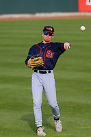 Bowling Green Hot Rods outfielder Michael Smith (1) warms up in the outfield prior to a Midwest League game against the Cedar Rapids Kernels on May 2, 2019 at Perfect Game Field in Cedar Rapids, Iowa. Bowling Green defeated Cedar Rapids 2-0. (Brad Krause/Four Seam Images)