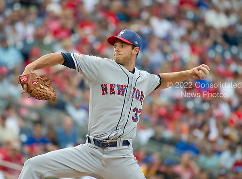 New York Mets starting pitcher Steven Matz (32) works in the first inning against the Washington Nationals at Nationals Park in Washington, D.C. on Monday, July 3, 2017.<br /> Credit: Ron Sachs / CNP<br /> (RESTRICTION: NO New York or New Jersey Newspapers or newspapers within a 75 mile radius of New York City)
