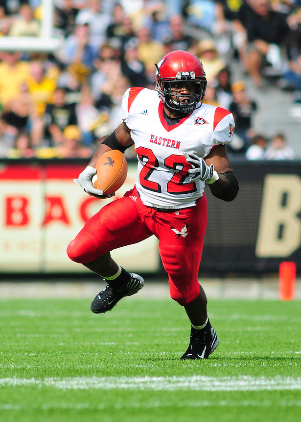 06 September 08: Eastern Washington tailback Dale Morris runs the ball against Colorado. The Colorado Buffaloes defeated the Eastern Washington Eagles 31-24 at Folsom Field in Boulder, Colorado. FOR EDITORIAL USE ONLY
