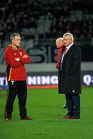 Wales coaches Rob Howley (left) and Warren Gatland during the Steinlager Series All Blacks rugby match between the New Zealand All Blacks and Wales at Eden Park, Auckland, New Zealand on Saturday, 11 June 2016. Photo: Dave Lintott / lintottphoto.co.nz