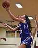 Nicole Petrocelli #45 of Hauppauge drives to the net during a non-league tournament game against host Whitman High School on Friday, Nov. 30, 2018.