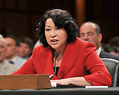 Washington, DC - July 14, 2009 -- Judge Sonia Sotomayor testifies before the United States Senate Judiciary Committee during confirmation hearings on her nomination as Associate Justice of the U.S. Supreme Court on Tuesday, July 14, 2009..Credit: Ron Sachs / CNP