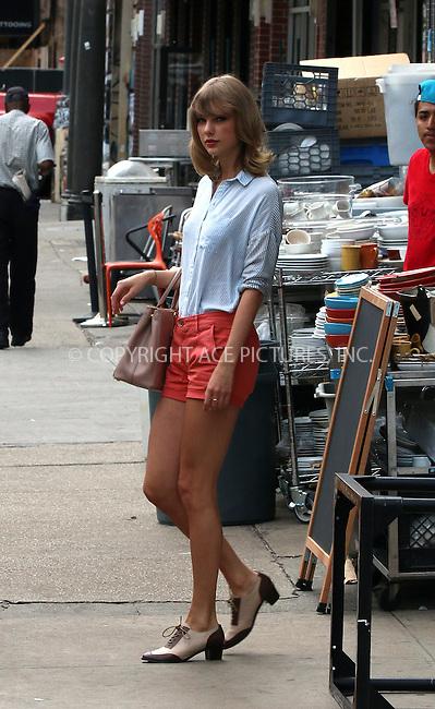 ACEPIXS.COM<br /> <br /> July 29 2014, New York City<br /> <br /> Singer Taylor Swift leaves her gym on July 29 2014 in New York City<br /> <br /> <br /> By Line: Zelig Shaul/ACE Pictures<br /> <br /> ACE Pictures, Inc.<br /> www.acepixs.com<br /> Email: info@acepixs.com<br /> Tel: 646 769 0430