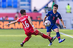 Theerathon Bunmathan of Thailand (R) fights for the ball with Sayed Redha Isa of Bahrain (L) during the AFC Asian Cup UAE 2019 Group A match between Bahrain (BHR) and Thailand (THA) at Al Maktoum Stadium on 10 January 2019 in Dubai, United Arab Emirates. Photo by Marcio Rodrigo Machado / Power Sport Images