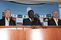 31st March 2020, France; It has been announced that Pape Diouf, ex-President of League 1 football club in France has died from Covid-19 Coroma Virus.  Trainer Didier Deschamps, President Pape Diouf and Co Trainer Guy Stephan