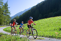 Pfunds, Tiroler Oberland, Austria, August 2009. Leisurely cycling for the whole family, through the river valley of Tiroler Oberland.  Photo by Frits Meyst/Adventure4ever.com