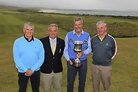 Pat Boyce (Rosapenna), Liam Breen (Captain Rosapenna Golf Resort) and Con Boyce (Rosapenna) with Adrian Morrow (Portmarnock) after he won the Ulster Seniors Open Championship at Rosapenna Golf Resort in Downings, Donegal, Ireland.<br /> <br /> Picture: Thos Caffrey / Golffile<br /> <br /> All photo usage must carry mandatory copyright credit (&copy; Golffile | Thos Caffrey)
