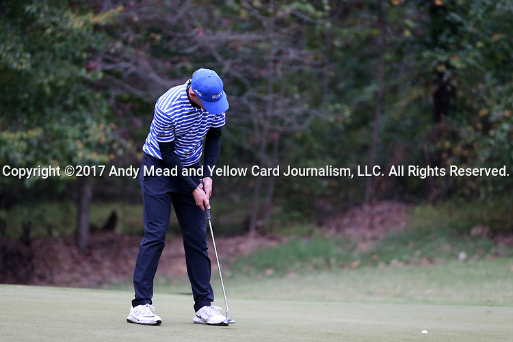 GREENSBORO, NC - OCTOBER 29: Duke's Chandler Eaton on the 3rd green. The third round of the UNCG/Grandover Collegiate Men's Golf Tournament was held on October 29, 2017, at the Grandover Resort East Course in Greensboro, NC.