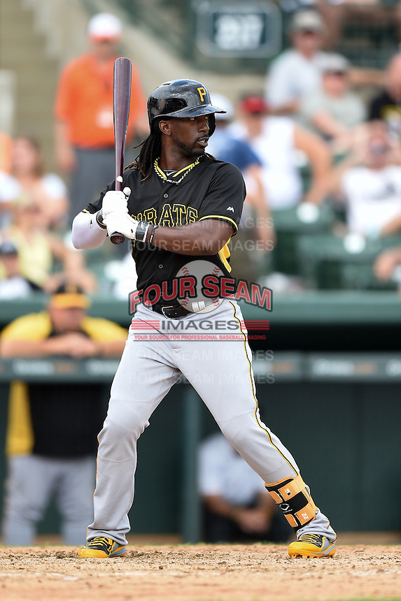 Outfielder Andrew McCutchen (22) of the Pittsburgh Pirates during a spring training game against the Baltimore Orioles on March 23, 2014 at McKechnie Field in Bradenton, Florida.  Baltimore and Pittsburgh played to a 7-7 tie.  (Mike Janes/Four Seam Images)