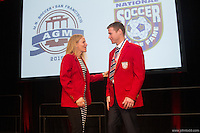 San Francisco, CA - Saturday Feb. 14, 2015:  2014 US Soccer Hall of Fame inductees Kristine Lilly and Brian McBride speak after being inducted into the Hall of Fame at the 2014 US Soccer Hall of Fame Induction ceremony.