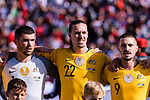 Goalkeeper Mathew Ryan (L), Jackson Irvine (C) and Jamie Maclaren of Australia (R) prior to the AFC Asian Cup UAE 2019 Group B match between Palestine (PLE) and Australia (AUS) at Rashid Stadium on 11 January 2019 in Dubai, United Arab Emirates. Photo by Marcio Rodrigo Machado / Power Sport Images