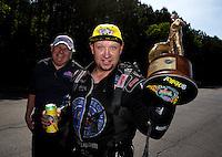 May 19, 2014; Commerce, GA, USA; NHRA funny car driver Robert Hight celebrates after winning the Southern Nationals at Atlanta Dragway. Mandatory Credit: Mark J. Rebilas-USA TODAY Sports