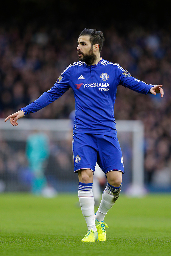 Chelsea's Cesc Fabregas during today's match<br /> <br /> Photographer Craig Mercer/CameraSport<br /> <br /> Football - Barclays Premiership - Chelsea v Manchester United - Sunday 7th February 2016 - Stamford Bridge - London<br /> <br /> &copy; CameraSport - 43 Linden Ave. Countesthorpe. Leicester. England. LE8 5PG - Tel: +44 (0) 116 277 4147 - admin@camerasport.com - www.camerasport.com