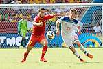 Eden Hazard (BEL), Dmitri Kombarov (RUS), JUNE 22, 2014 - Football / Soccer : FIFA World Cup Brazil 2014 Group H match between Belgium 1-0 Russia at the Maracana stadium in Rio de Janeiro, Brazil. (Photo by Maurizio Borsari/AFLO)