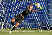 27 August 2011:  FIU's Kaitlyn Savage (00) dives for a ball during pre-game warm-ups.  The FIU Golden Panthers defeated the University of Arkon Zips, 1-0, at University Park Stadium in Miami, Florida.