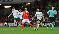 Wales'  Tom Lawrence battles with Ireland's James McClean<br /> <br /> Photographer Ian Cook/CameraSport<br /> <br /> FIFA World Cup Qualifying - European Region - Group D - Wales v Republic of Ireland - Monday 9th October 2017 - Cardiff City Stadium - Cardiff<br /> <br /> World Copyright &copy; 2017 CameraSport. All rights reserved. 43 Linden Ave. Countesthorpe. Leicester. England. LE8 5PG - Tel: +44 (0) 116 277 4147 - admin@camerasport.com - www.camerasport.com