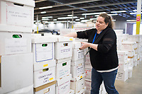 NWA Democrat-Gazette/CHARLIE KAIJO Tiffany Underwood, office manager, moves boxes of old probate cases, marriage licenses and voter records going back to late 1800s, Friday, March 16, 2018 at the new Benton County Clerk's office in Rogers. <br /><br />The Benton County Clerk moved their Rogers staff and operation to the new space in the old Kmart building at 2109 W. Walnut St. in Rogers