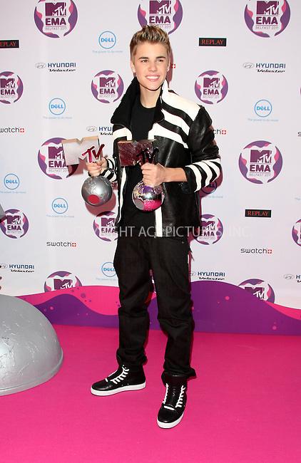 WWW.ACEPIXS.COM . . . . .  ..... . . . . US SALES ONLY . . . . .....November 6 2011, Belfast....Justin Bieber in the press room at the MTV Europe Music Awards held at the Odyssey Arena on November 6 2011 in Belfast....Please byline: FAMOUS-ACE PICTURES... . . . .  ....Ace Pictures, Inc:  ..Tel: (212) 243-8787..e-mail: info@acepixs.com..web: http://www.acepixs.com