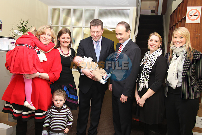 Micheál Martin with Thomas Byrne and Family at Fianna Fail Rally Kells...(Photo credit should read Jenny Matthews www.newsfile.ie)....This Picture has been sent you under the conditions enclosed by:.Newsfile Ltd..The Studio,.Millmount Abbey,.Drogheda,.Co Meath..Ireland..Tel: +353(0)41-9871240.Fax: +353(0)41-9871260.GSM: +353(0)86-2500958.email: pictures@newsfile.ie.www.newsfile.ie.