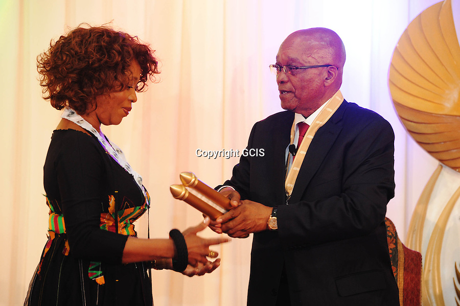 Alfre Ette Woodard receives the Order of Companions of OR Tambo in silver during the National Orders Ceremony at Sefako Makgatho Presidential Guest House in Pretoria. South Africa. 27/04/2014. Siyabulela Duda