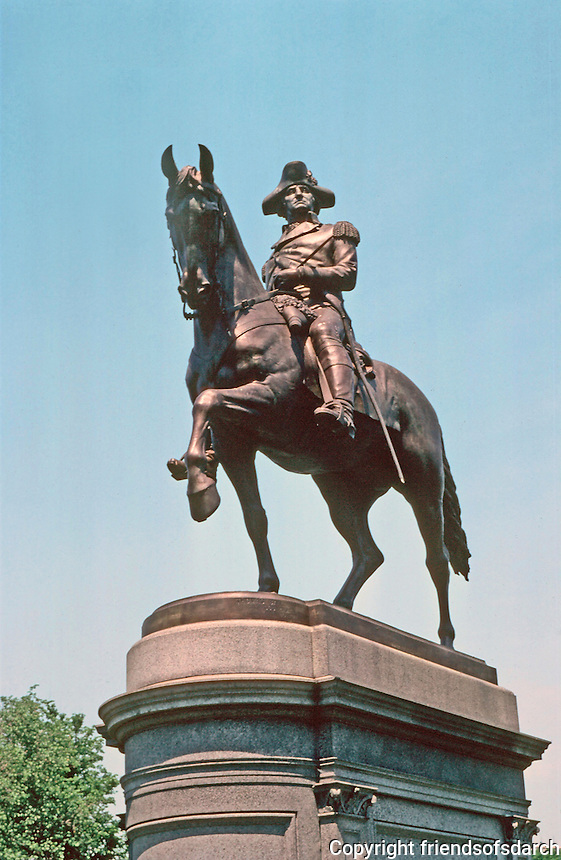 Boston:  Equestrian  Sculpture of Washington, West Entrance to Public Garden.  Sculptor Thomas Ball, 1869. Photo  '88.