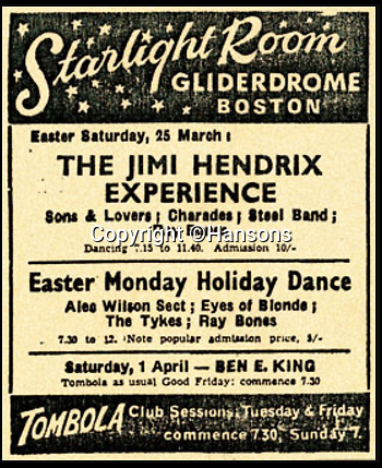 """BNPS.co.uk (01202 558833)Pic: Hansons/BNPS<br /> <br /> Gig poster from the night Anthea (Rogers) received her auotgraph from The Jimi Hendrix Experience...<br /> <br /> Foxy Lady left Hendrix in a Purple Haze...<br /> <br /> An autograph music legend Jimi Hendrix gave to a beautiful English teenager who bewitched him 50 years ago has emerged for sale.<br /> <br /> Anthea Rogers was 19 when the American guitarist leapt off the stage and walked over to her in a concert hall in Lincolnshire in 1967.<br /> <br /> He signed the back of a guitar strings packet and told her to """"stay sweet"""" when his band the Jimi Hendrix Experience were getting ready for a gig three years before the icon died.<br /> <br /> Anthea, now 69, has decided to sell her rare signature with Hansons Auctioneers and it is expected to fetch £3,000."""