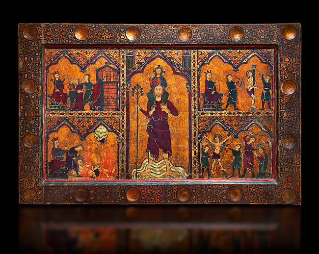 Gothic painted Altar frontal of Saint Christopher by Master of Soriguerola. Tempera and varnished metal plate on wood. Beginning of 14th century. 134 x 193 x 8.3 cm. The traditional hypothesis is that it could have come from the parish church of Sant Cristòfol de Toses (Ripollès), as the titular saint coincides with the church's dedication.. National Museum of Catalan Art, inv no: 015825-000